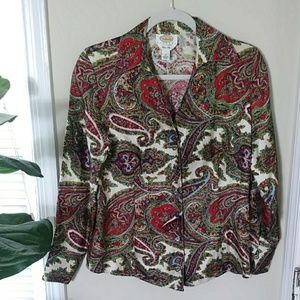 Talbots pure silk Paisley button-up blouse sz10
